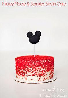 mickey-mouse-sprinkles-smash-cake by imtopsyturvy.com, via Flickr