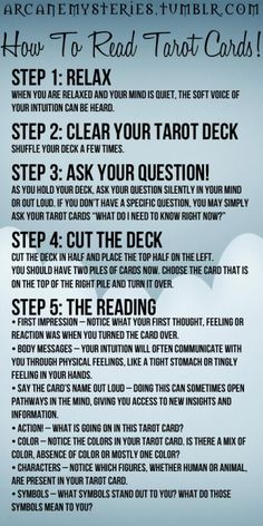 arcanemysteries:  How To Read Tarot Cards!