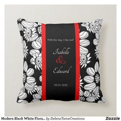 Shop Modern Black White Floral Red Wedding Ring Bearer Throw Pillow created by DeleneTameCreations. Red Wedding, Wedding Day, Wedding Rings, Modern Wedding Gifts, Informal Weddings, Ring Bearer Pillows, Ceremony Decorations, Wedding Supplies, Custom Pillows