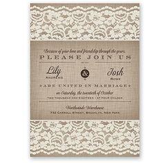 Linen, Lace, Typography Wedding Invitation - Ivory - David's Bridal at Invitations By David's Bridal
