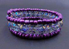 Purple memory wire bracelet purple crystal wrap bracelet