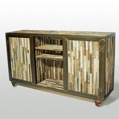 Reclaimed Barn Wood Media Console and Sideboard Old Barn Wood, Reclaimed Barn Wood, Reclaimed Wood Furniture, Wood Crates, Barn Wood Cabinets, Rustic Home Design, Wood Sideboard, Repurposed Wood, Painting Cabinets