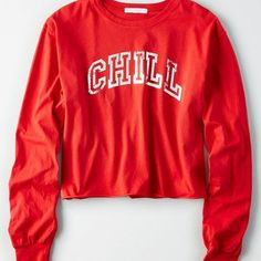 Don't Ask Why Cutoff Long Sleeve T-Shirt ($35) ❤ liked on Polyvore featuring tops, t-shirts, red, red long sleeve t shirt, crop tops, long sleeve t shirts, crew neck t shirt and long sleeve crew neck t shirt