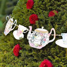 Alice in wonderland decorations, Alice bunting, Alice garland, Mad hatter tea party, whimsical garden party, first birthday, Vintage
