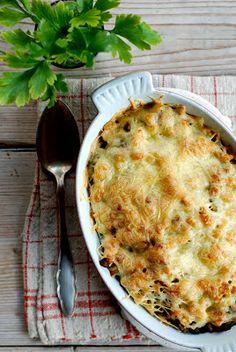 Ovenschotel met pasta, prei, enz...