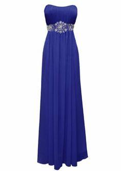 Strapless Chiffon Goddess Long Gown Prom Dress Formal Bridesmaid Junior Plus Size - Royal - XL|HaveYouLike.com