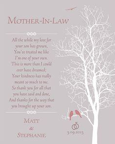wedding gift for mother in law future in laws gift wedding day gift for mother of the groom thank you gift wedding poem