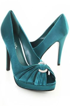 Teal Satin O Ring Rhinestone Cross Pleated Heels / Sexy Clubwear | Party Dresses | Sexy Shoes | Womens Shoes and Clothing | AMI CLubwear