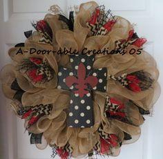 Fleur de lis..Cross..Burlap..Deco Mesh Wreath. $89.00, via Etsy.