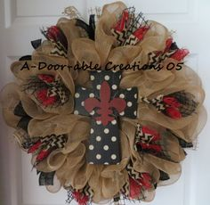 Fleur de lis..Cross..Burlap..Deco Mesh Wreath. $89.00, via Etsy.
