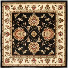 Safavieh Lyndhurst Collection LNH555-9012 Traditional Oriental Black and Ivory Square Area Rug (6'7' Square) -- Check out this great product. (This is an affiliate link) #AreaRugsRunnersandPads