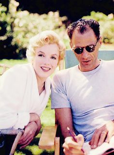 Marilyn Monroe and Arthur Miller. Photo by Milton Greene, 1956.