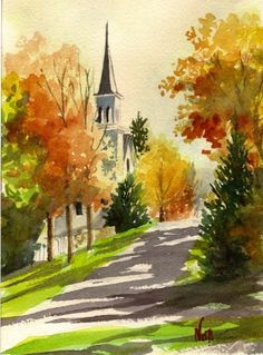 Kingfield church in the fall watercolor 2010 Nita Leger Original art painting by Nita Leger Casey - Kingfield church in the fall watercolor 2010 Nita Leger, painting by artist Nita Leger Casey Watercolor Trees, Watercolor Artwork, Watercolor Landscape, Watercolor Illustration, Landscape Paintings, Inspiration Artistique, Guache, Watercolor Techniques, Painting & Drawing
