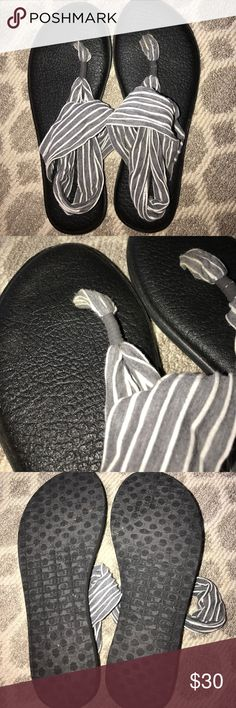 Sanuk Gray and White Stripped Flip Flops These shoes have only been worn a couple times indoors. They are very comfortable and cute! In great condition. Sanuk Shoes Sandals