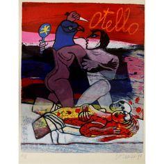 Title: 'Otello' in potlood get. en gedateerd '90  medium: kleurenlitho, XL/L,  size: 44x36 cm