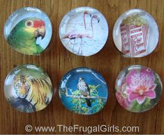 How to Make Marble Magnets! ~ via TheFrugalGirls.com #marble #magnets #craft - I need bigger marbles this time! Last time they were tooo tiny to stick as a magnet.