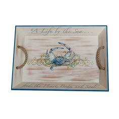 Serving tray with a crab motif and script detail.   Product: Serving trayConstruction Material: Bamboo and hemp