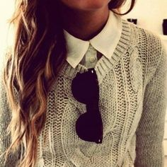 grey sweater white collar black sunglasses. let's get ready for fall. crisp leaves, cozy knits. I can't wait. x