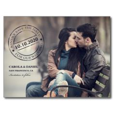 Foto-Hochzeits-Poststempel-Save the Date Postkarte