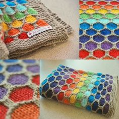 Honeycomb Rainbow Blanket - link to free pattern is on this page, but these photos show it off better than the original.