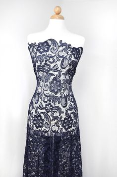 Venice Embroidered Navy Lace Fabric for Wedding by LaceFabrics