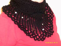 Handmade crochet and beaded black cowl by cleancritters on Etsy, $25.00