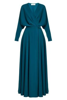 A state of mind consisting of pure sensation or emotion. Wrap dress with press studs closure, Kimono top, Maxi length circle cut skirt, Extra long waist belt, Long sleeves. Lovely Dresses, Modest Dresses, Casual Dresses, Muslim Fashion, Modest Fashion, Fashion Dresses, Midi Flare Skirt, Mode Simple, Cocktail Gowns