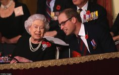 dailymail:  Festival of Remembrance, Royal Albert Hall, November 7, 2015-Queen Elizabeth and grandson the Duke of Cambridge