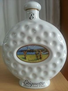 Etiquette Whiskey Flask Golf Ball with Golfing Scene Made in England