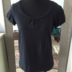 Cambridge Dry Goods. $5 basic black shirt alert! $5 basic shirt alert! Cambridge Dry Goods. Size S. Black. Scoop neck. Short sleeves. Gathering at front of neck and at sleeves. 95% cotton. 5% spandex. Bundle and save 15%! Cambridge Dry Goods Tops Blouses