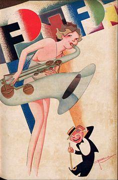 * FON FON José Carlos de Brito e Cunha, connu comme J Carlos (1884 - 1950) dessinateur, illustrateur et graphiste brésilien considéré comme l'un des plus grands représentants du style art déco en design graphique brésilien.