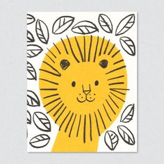 lisa jones studio recycled greeting card, illustration of a colourful lion in leaf pattern