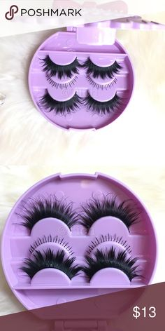 Lavender Lash Case With Eyelashes New.  Synthetic lashes. Includes:  Purple Eyelash Case  1 Pair: Iconic Lashes Bottom Lashes  Wispy Noir Fairy Lashes     Lashes and case can be customized. Any questions please ask!      # House of Lashes Noir Fairy Velour What The Fluff?! Koko Goddess Flutter Ersatz Crazed Violet Voss Dolls Just Want to Have Fun Velour Fluff'n Dolled Up Flutter Red Cherry Lily Makeup False Eyelashes