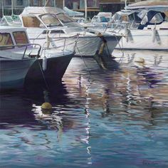 Reflections 2, 60x60 cm Acrylic on canvas, water, reflections, boat, yacht, sailing, water sports © Roos van der Meijden