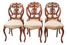 Set Of 6 Victorian Carved Walnut Dining Chairs - Antiques Atlas
