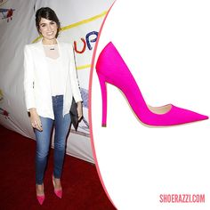Nikki Reed in Christian Dior Pink Silk Satin Pumps - ShoeRazzi