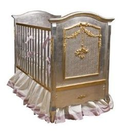 Silver and gold metallic baby crib.  Wow! Product in photo is from www.wellappointedhouse.com