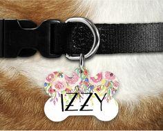 Etiqueta de identificación de mascotas Personalizados-ID Tag-Dog Tag-Pet Tag-Tema De Flor De Neón