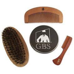 GBS Combo Set (3 Pc Kit) Premium Oval Wood Beard Brush with Boar Bristles, Bamboo All Fine Beard Comb & Tortoise Pocket Beard and Moustache Comb
