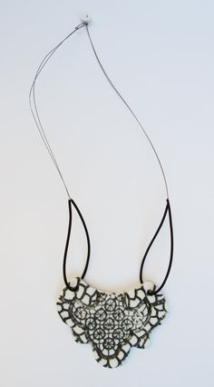 Backwards Porcelain Ceramic Black and White by CeramicJewelleries