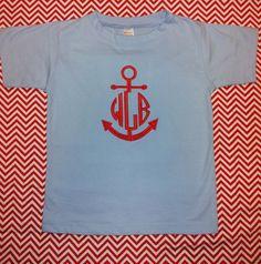 Light Blue Short Sleeve Shirt with Red Anchor Monogram For Boys. $20.00, via Etsy.