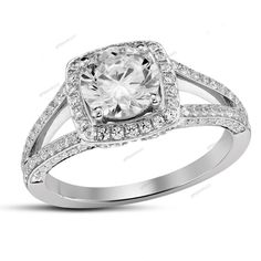 Split Shank 925 Silver Round D/VVS1 Diamond Square Frame Halo Engagement Ring #giftjewelry22 #SquareFrameHaloRing