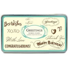 Cavallini Greetings Rubber Stamp Set by ThePaperParlourUK on Etsy, £17.99