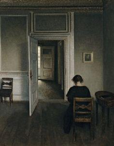 HAMMERSHOI Vilhelm - Danish (Kopenhagen 1864 - 1916) - Les Portes Ouvertes 1900