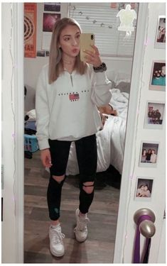 School Outfits For Teen Girls, Teen Winter Outfits, Casual School Outfits, Cute Comfy Outfits, Teen Fashion Outfits, Teenager Outfits, Mode Outfits, Girl Outfits, Summer Outfits