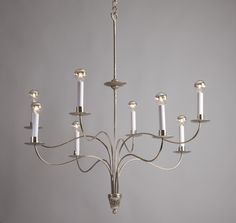 Fleur 8 candle Chandelier in Polished Nickel finish Candle Chandelier, Chandeliers, Nickel Finish, Polished Nickel, Gate 2, Ceiling Lights, Candles, Steel, Studio