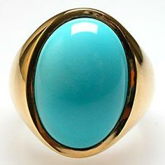 Mens modernist vintage gold and Persian turquoise ring