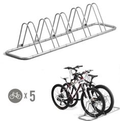 Bike Floor Stand 5 Parking Space Steel Storage Family Size Bicycle Safety Lock