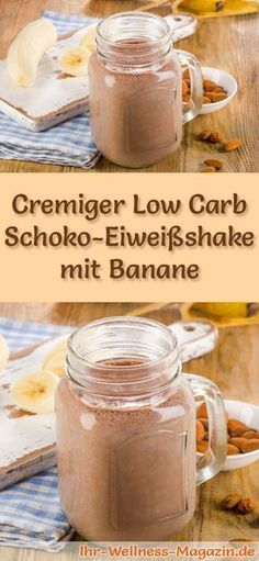 Schoko-Eiweißshake mit Banane – Low-Carb-Eiweiß-Diät-Rezept Make chocolate eggshake yourself – a healthy low carb diet recipe for breakfast smoothies and protein shakes for weight loss – no added sugar, low in calories, healthy … Low Carb Shakes, Low Carb Smoothies, Breakfast Smoothies, Low Carb Protein, Low Carb Diet, Detox Recipes, Low Carb Recipes, Ham Recipes, Drink Recipes