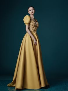 Mireille Dagher Couture - Live by the sun, Love by the Moon Collection Source Pink Prom Dresses, Event Dresses, Modern Filipiniana Gown, Beautiful Dresses, Nice Dresses, Fantasy Dress, Gowns Of Elegance, Yellow Dress, Classy Outfits